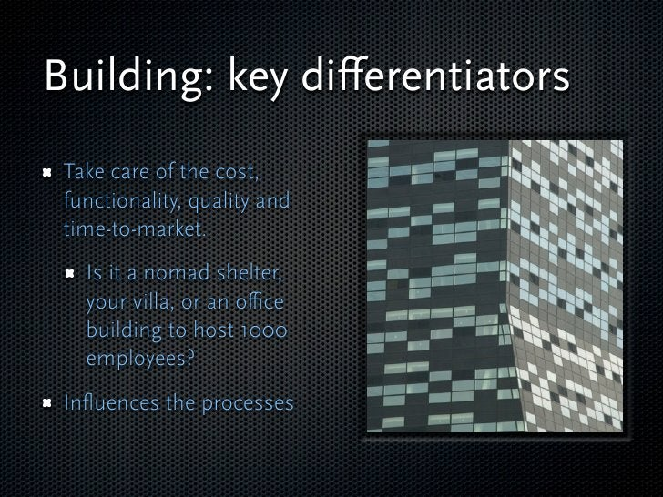 Building: key differentiators  Take care of the cost,  functionality, quality and  time-to-market.    Is it a nomad shelter...