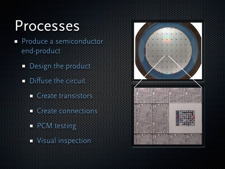 Processes Produce a semiconductor end-product   Design the product   Diffuse the circuit     Create transistors     Create ...