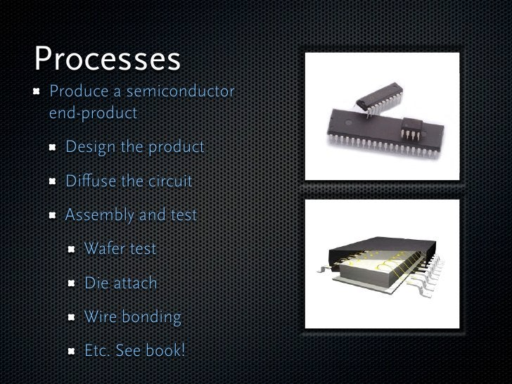 Processes Produce a semiconductor end-product  Design the product  Diffuse the circuit  Assembly and test     Wafer test   ...