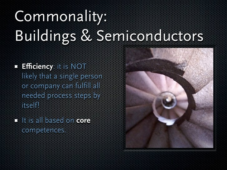 Commonality: Buildings & Semiconductors Efficiency: it is NOT likely that a single person or company can fulfill all needed p...