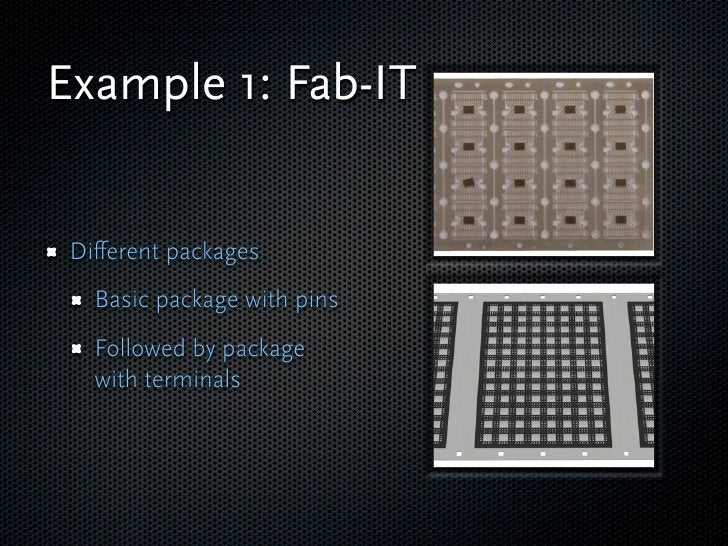 Example 1: Fab-IT    Different packages    Basic package with pins    Followed by package    with terminals