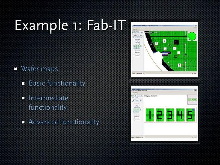 Example 1: Fab-IT   Wafer maps    Basic functionality    Intermediate    functionality    Advanced functionality