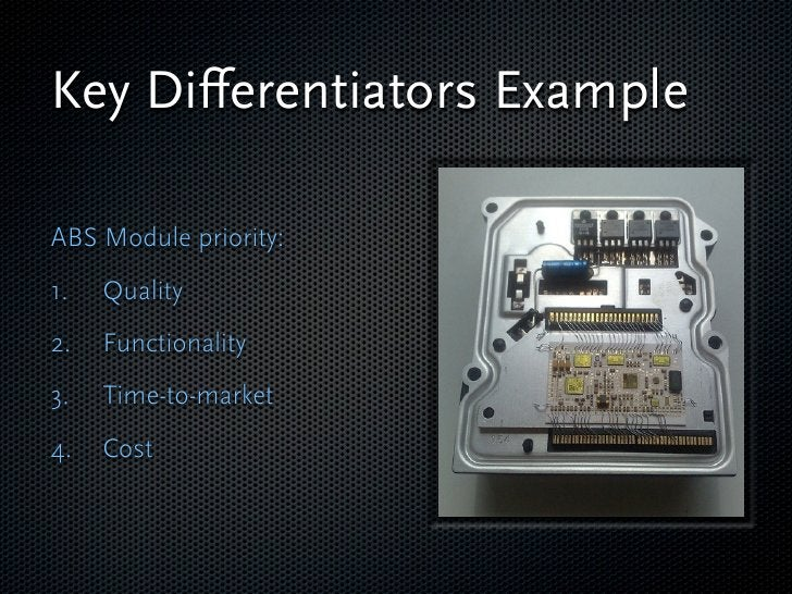 Key Differentiators Example  ABS Module priority: 1.   Quality 2.   Functionality 3.   Time-to-market 4.   Cost