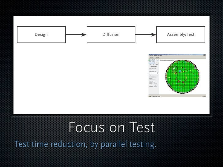Test time reduction  This needs special hardware,  to expand tester capacity.  And special software for  optimized path fin...