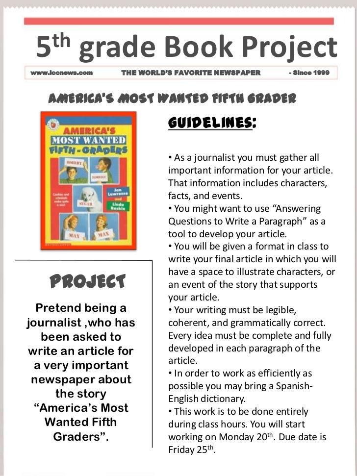5th Grade Book Projectwww.iccnews.com THE WORLDu0027S FAVORITE NEWSPAPER    Since 1999 AMERICAu0027S ...  Grade Book Template Word