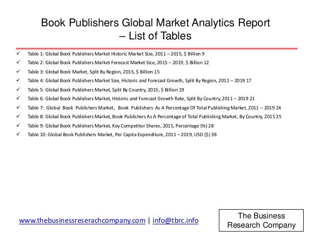 global book publishing industry report Welcome to my annual publishing industry predictions for the year  indie  authors will capture more ebook market share - self-published.