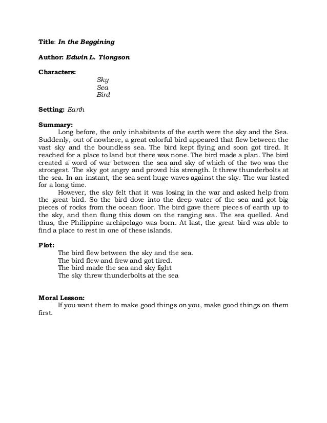 book report story in english