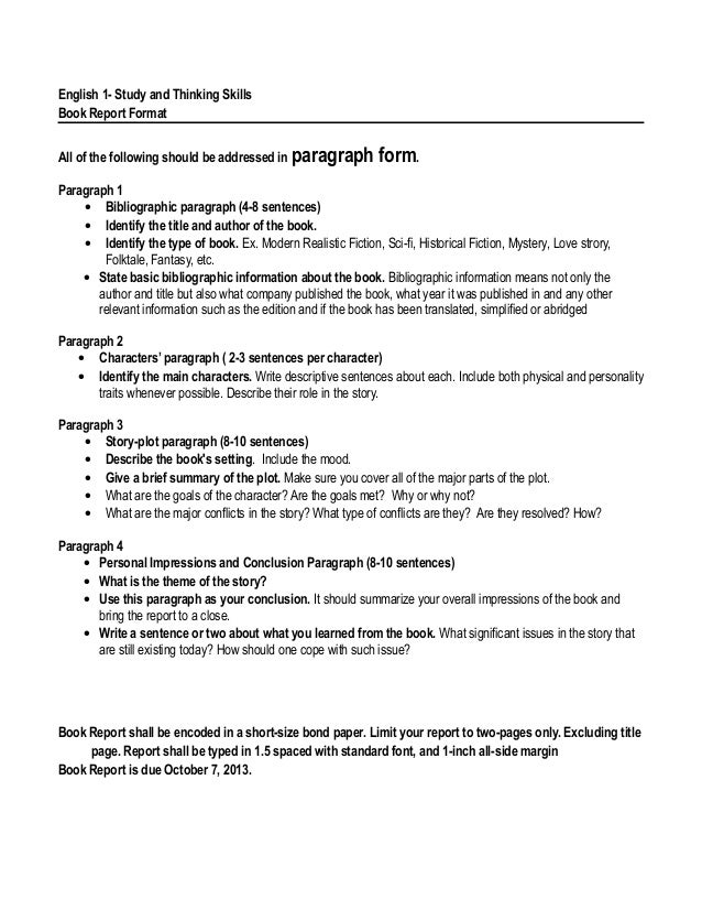3 paragraph book report
