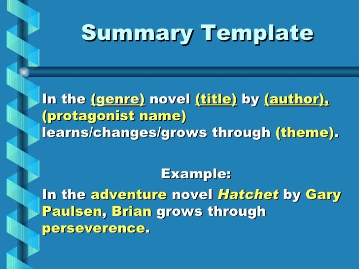 Summary Template ...  Book Report Summary Template