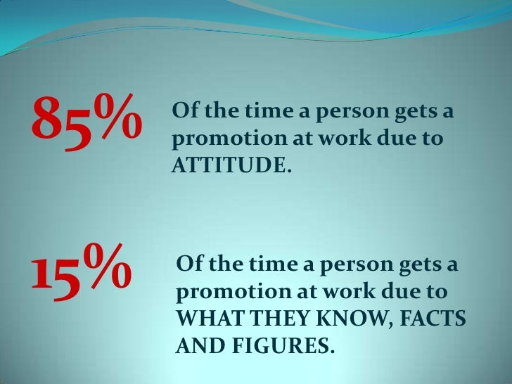 85%<br />15%<br />Of the time a person gets a promotion at work due to ATTITUDE.<br />Of the time a person gets a promotio...