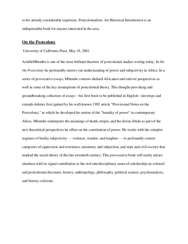 POST-COLONIAL Books review assignment