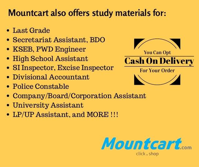 Mountcart also offers study materials for: Last Grade Secretariat Assistant, BDO KSEB, PWD Engineer High School Assistant ...