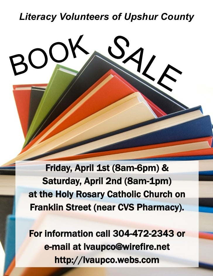 Literacy Volunteers of Upshur County   O K SABO        LE      Friday, April 1st (8am-6pm) &     Saturday, April 2nd (8am-...