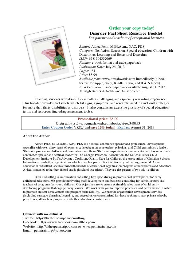 Book sellsheet order your copy today disorder fact sheet resource booklet for parents and teachers of exceptional fandeluxe Choice Image