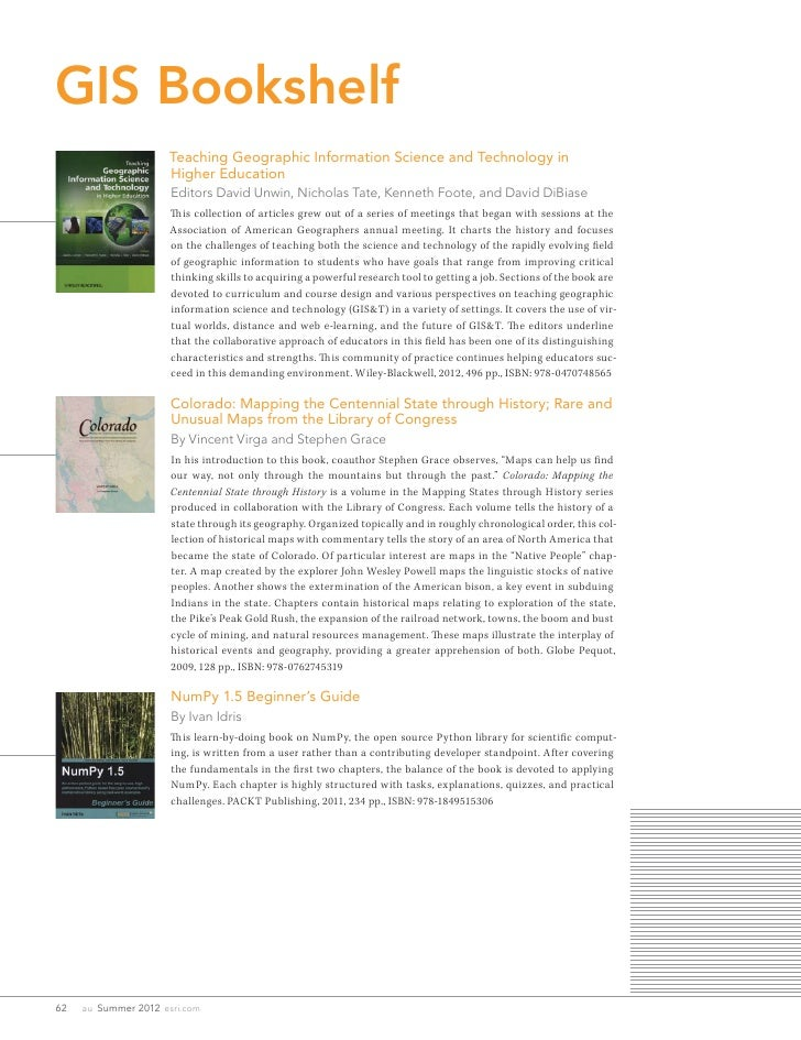GIS Bookshelf                       Teaching Geographic Information Science and Technology in                       Higher...