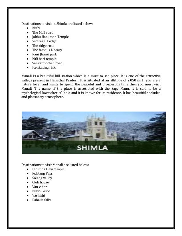 Take Shimla Manali Tour Package From Chandigarh At Himview