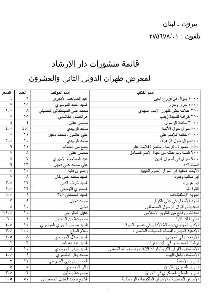 بيروت ـ لبنان                                                                            تلفون : ١٠/٨٧٦٥٧٢            ...