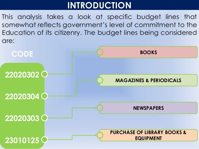 INTRODUCTION This analysis takes a look at specific budget lines that somewhat reflects government's level of commitment t...