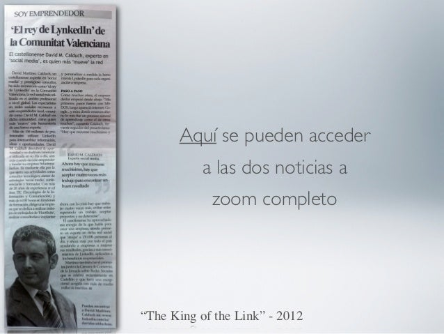 """Aquí se pueden acceder           a las dos noticias a            zoom completo""""The King of the Link"""" - 2012"""
