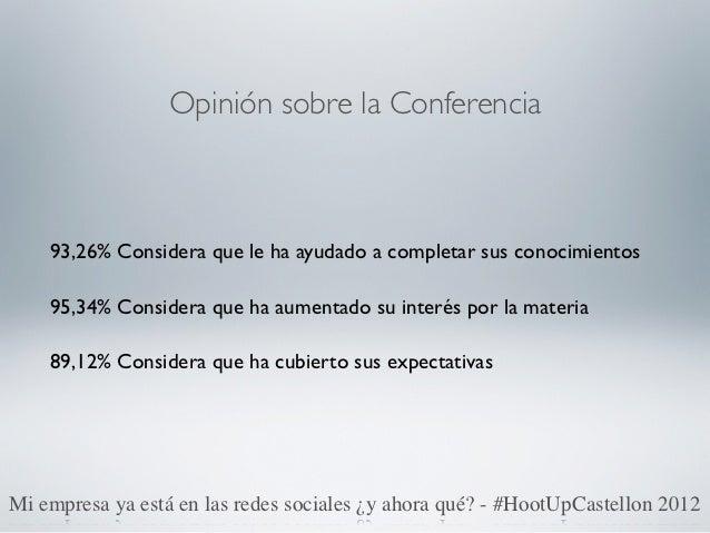 Opinión sobre la Conferencia    93,26% Considera que le ha ayudado a completar sus conocimientos    95,34% Considera que h...