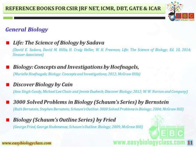 REFERENCE BOOKS FOR CSIR ]RF NET,  ICMR,  DBT,  GATE 81. [CAR      ¢ 1  EASY BIOLOGY this  General Biology  I Life:  The S...
