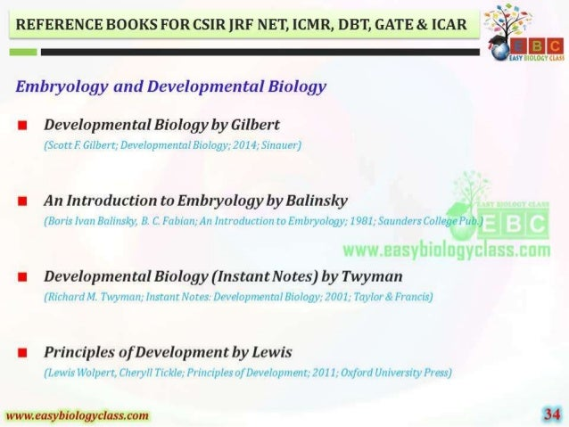 """REFERENCE BOOKS FOR CSIR ]RF NET,  ICMR,  DBT,  GATE 81. [CAR '  I""""  EASY BIOLOGY CLASS      Embryology and Developmental ..."""