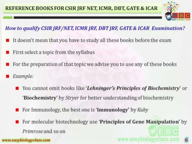 REFERENCE BOOKS FOR CSIR IRF NET,  ICMR,  DB'I',  GATE & ICAR  E     How to qualify C. S'IR[RF/ NE1) ICMR [RE DBT [RE GATE...