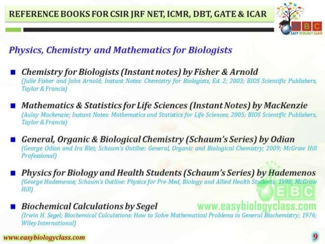 REFERENCE BOOKS FOR CSIR ]RF NET,  ICMR,  DBT,  GATE 81. [CAR      EASY BIOLOGY (M95  Physics,  Chemistry and Mathematics ...