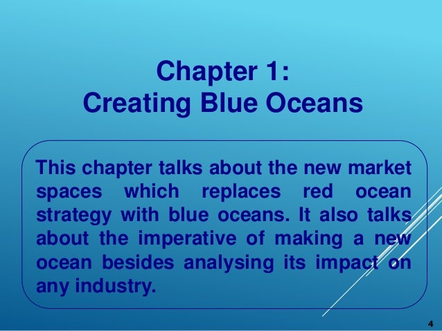 blue ocean strategy chapter summary Blue ocean strategy harvard business review • october 2004 page 2 w chan kim (chankim@inseadedu) is the boston consulting group bruce d henderson chair professor of strategy.