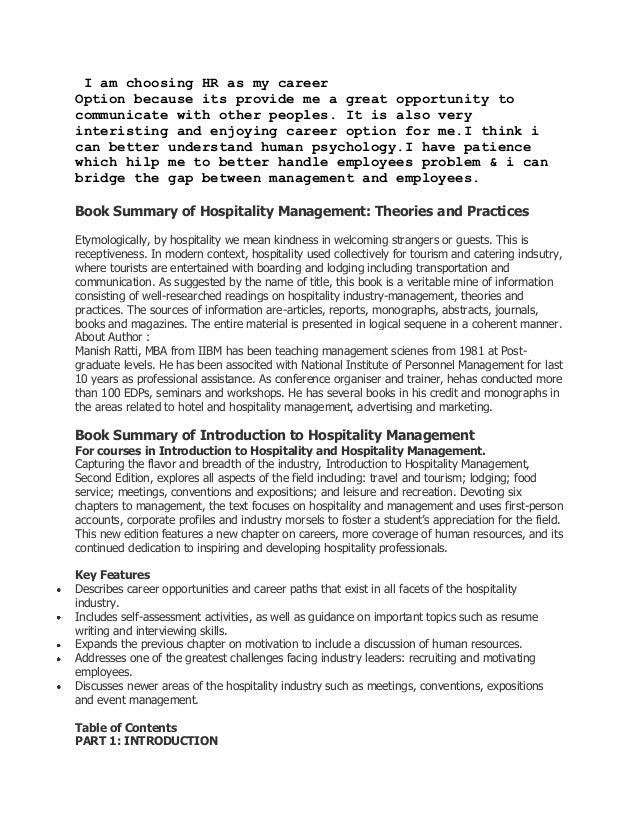 Book summary of hospitality management