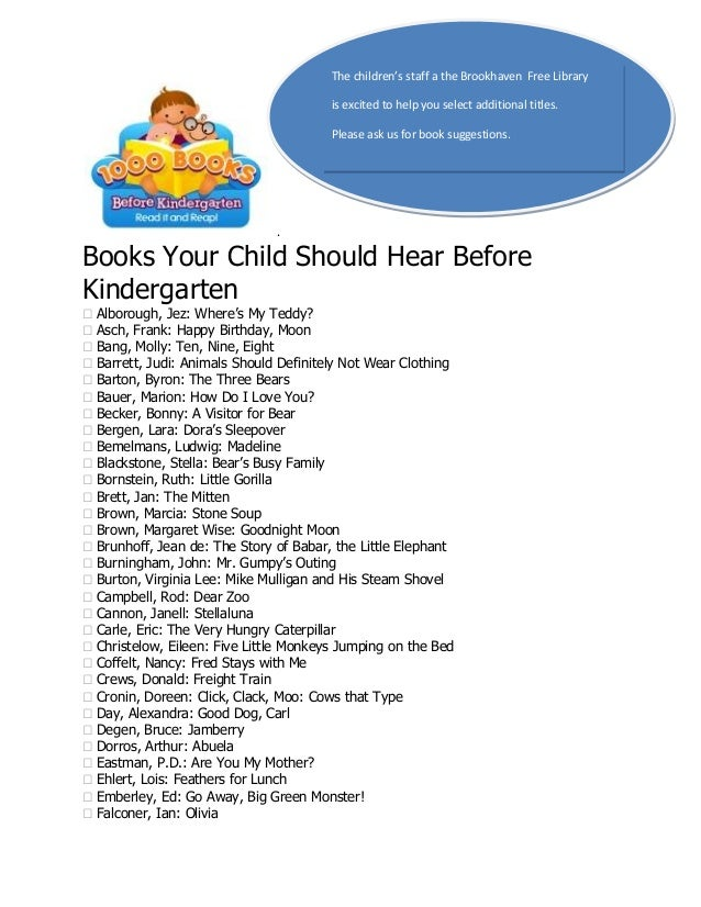 The children's staff a the Brookhaven Free Library is excited to help you select additional titles. Please ask us for book...