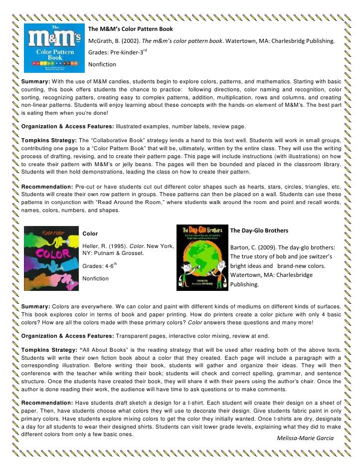 The M&M's Color Pattern BookMcGrath, B. (2002). The m&m's color pattern book. Watertown, MA: Charlesbridg Publishing. Grad...