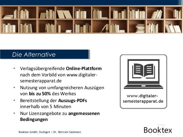 Booktex GmbH, Stuttgart   Dr. Bertram Salzmann Die AlternativeDie Alternative • Verlagsübergreifende Online-Plattform nach...
