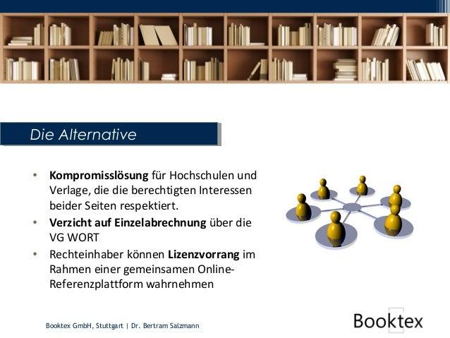 Booktex GmbH, Stuttgart   Dr. Bertram Salzmann Die AlternativeDie Alternative • Kompromisslösung für Hochschulen und Verla...