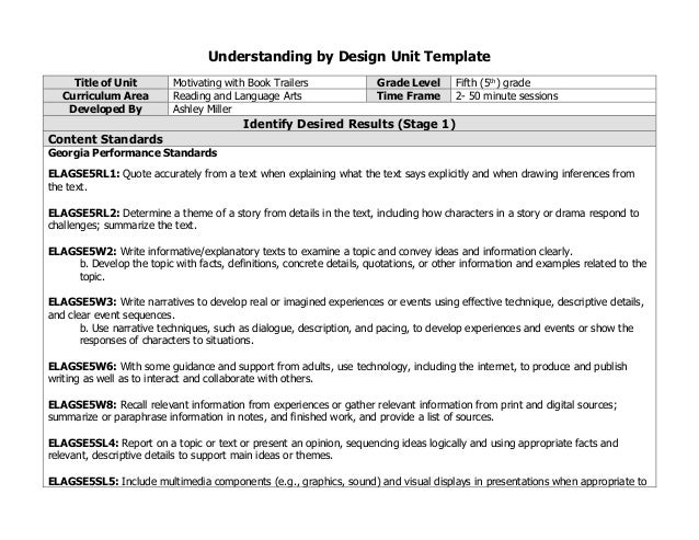 Understanding By Design Unit Template Title Of Unit Motivating With Book  Trailers Grade Level Fifth ( Enhance The Development Of Main Ideas ...