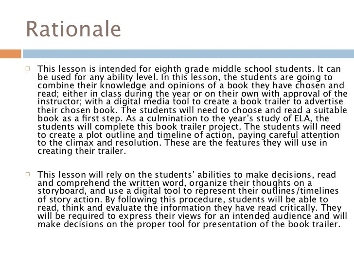 how to write a rationale statement for a lesson plan