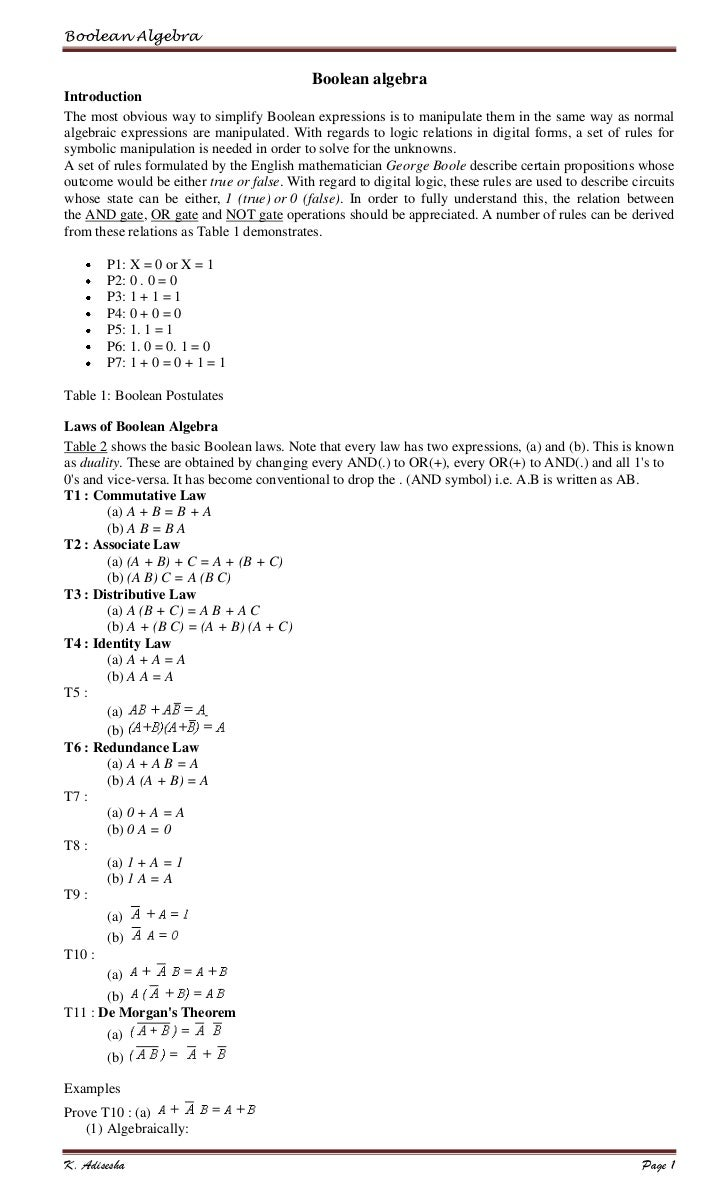 Boolean Algebra                                            Boolean algebraIntroductionThe most obvious way to simplify Boo...