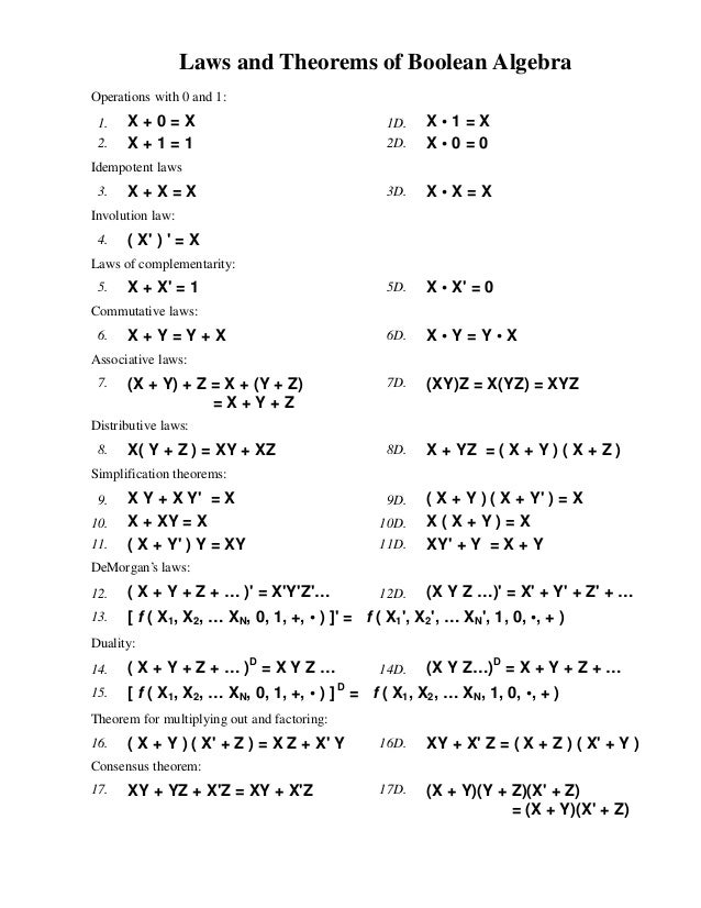 Laws and Theorems of Boolean AlgebraOperations with 0 and 1: 1.   X+0=X                                     1D.   X•1=X 2....