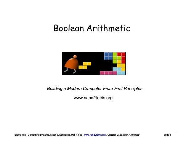 Elements of Computing Systems, Nisan & Schocken, MIT Press, www.nand2tetris.org , Chapter 2: Boolean Arithmetic slide 1 ww...