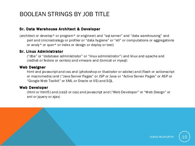 BOOLEAN STRINGS BY JOB TITLE Sr. Data Warehouse Architect & Developer (architect or develop* or program* or engineer) and ...