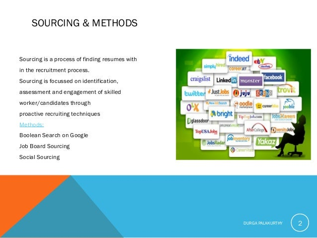 SOURCING & METHODS Sourcing is a process of finding resumes with in the recruitment process. Sourcing is focussed on ident...