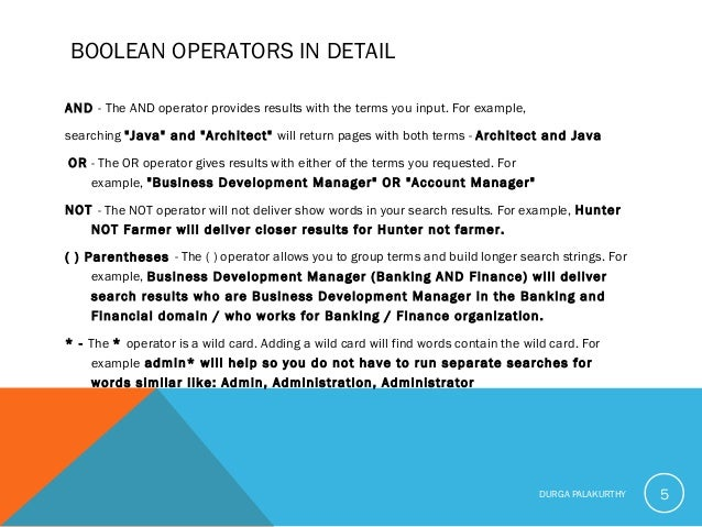 """BOOLEAN OPERATORS IN DETAIL AND- The AND operator provides results with the terms you input. For example, searching """"Java..."""