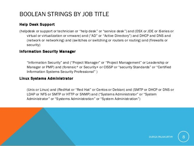 """BOOLEAN STRINGS BY JOB TITLE Help Desk Support (helpdesk or support or technician or """"help desk"""" or """"service desk"""") and (O..."""