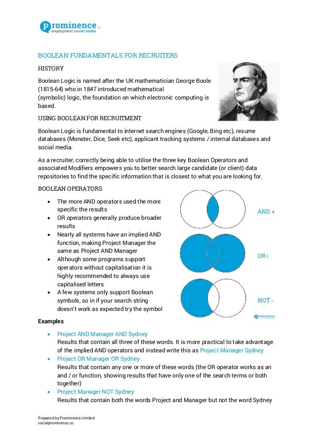 Prepared by Prominence Limited  socialprominence.co  BOOLEAN FUNDAMENTALS FOR RECRUITERS  HISTORY  Boolean Logic is named ...