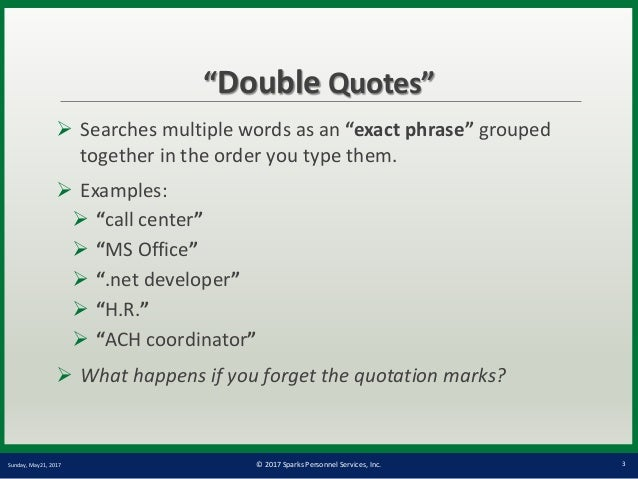 sparks group boolean search training introduction