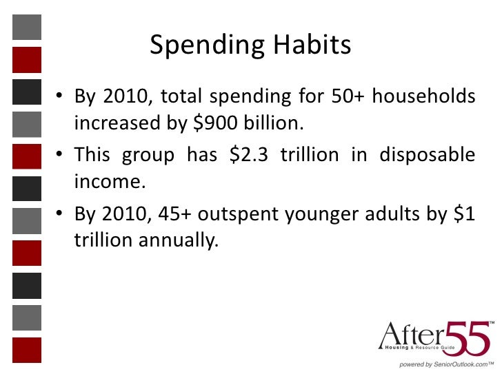 Spending Habits• By 2010, total spending for 50+ households  increased by $900 billion.• This group has $2.3 trillion in d...
