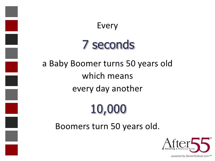 Every         7 secondsa Baby Boomer turns 50 years old         which means       every day another           10,000   Boo...