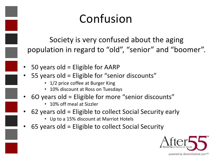 """Confusion       Society is very confused about the aging population in regard to """"old"""", """"senior"""" and """"boomer"""".• 50 years o..."""