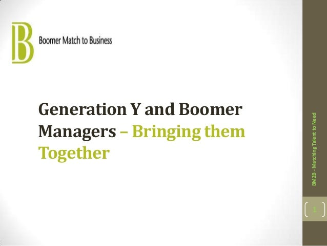 Generation Y and Boomer                           BM2B - Matching Talent to NeedManagers – Bringing themTogether          ...