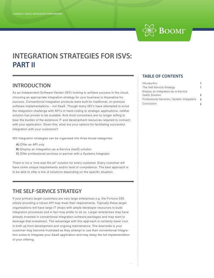 CONNECT ONCE, INTEGRATE EVERYWHERE CONNECT ONCE, INTEGRATE EVERYWHERE     INTEGRATION STRATEGIES FOR ISVS: PART II        ...